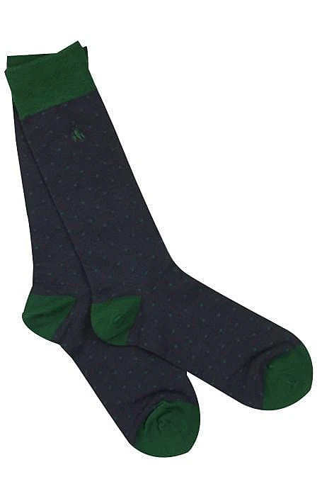 spotted-navy bamboo socks