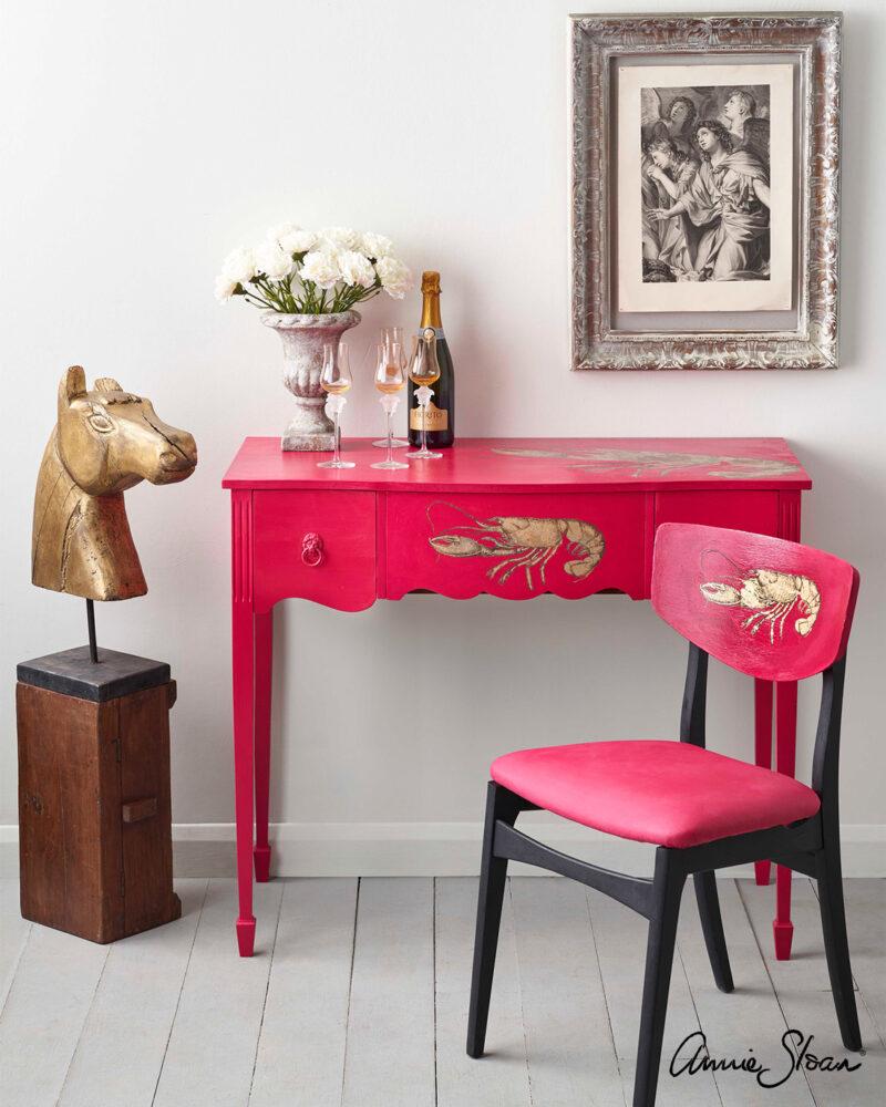 Annie_Slaon_Chalk-Paint-Capri_Pink_Hollywood-Regency-Desk