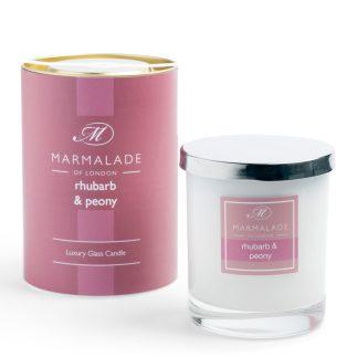 Marmalade Of London Large Glass Candle - Rhubarb and Peony