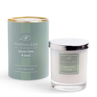 Marmalade Of London Large Glass Candle - Tuscan Lime and Basil