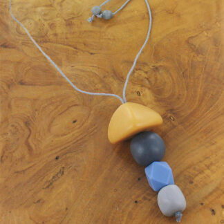 Suzie Blue BB6909 Mixed Shape Resin Pendant Necklace