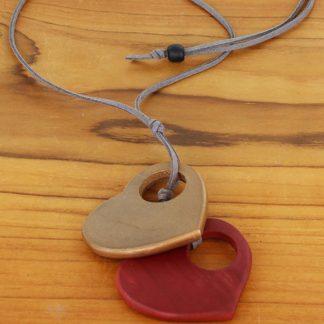 Suzie Blue FB1003 Double Wooden Heart Necklace (Adjustable)