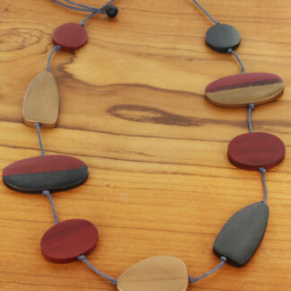 Suzie Blue FB1005 Long Mixed Shape Two-Tone Wooden Necklace