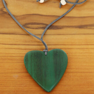 Suzie Blue FB1801 Suede Necklace with Wooden Heart Pendant