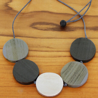 Suzie Blue FB6002gy Wooden 5 Disc Necklace (Adjustable)