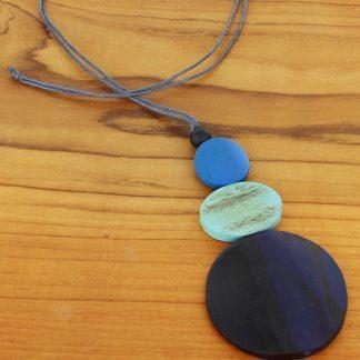 Suzie Blue FB6004 bl Triple Disc Pendant Necklace (Adjustable)