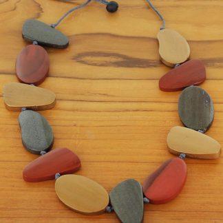 Suzie Blue FB6703 Asymmetric Wooden Pebble Necklace (Adjustable)