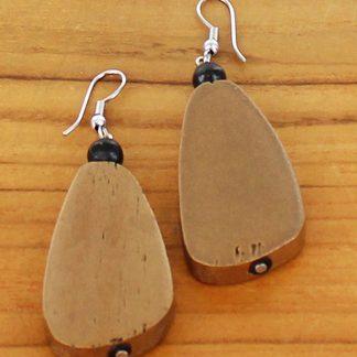 Suzie Blue FB6909g Simple Wooden Pebble Earring