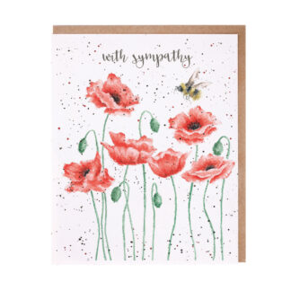 Wrendale Designs 'Poppies And Bee' Sympathy Card