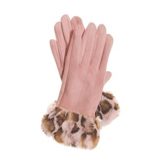 Hot Tomato Pink Faux Suede Gloves