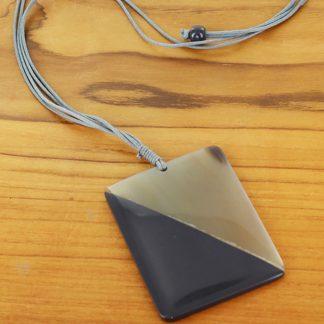 Suzie Blue RA6001gy Rectangular Resin & Horn Pendant Necklace