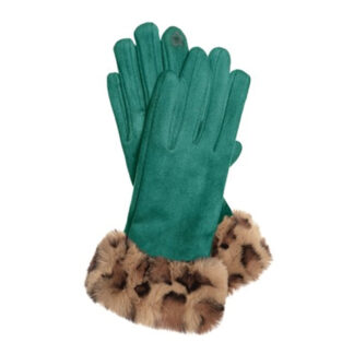 Hot Tomato Teal Faux Suede Gloves