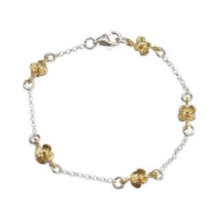 Saphirim Rahav Gold Plated Flowers Bracelet