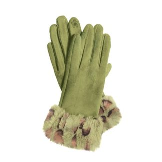 Hot Tomato Green Faux Suede Gloves