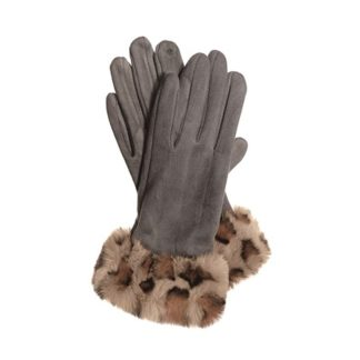 Hot Tomato Grey Faux Suede Gloves