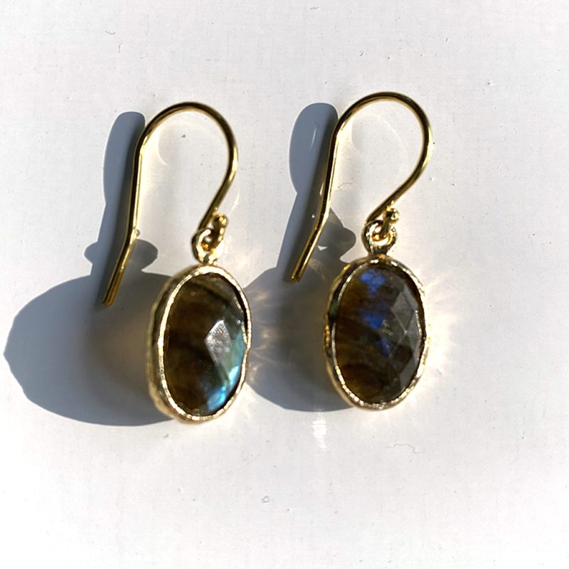 silver gold plated drop earrings with faceted labradorite
