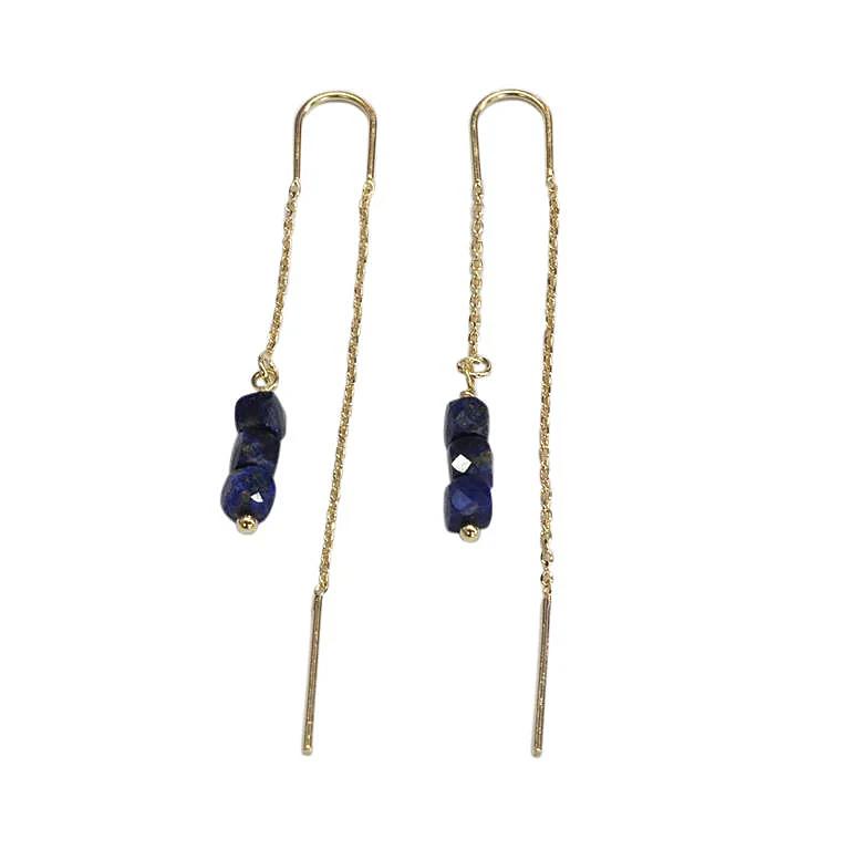 Saphirim Rahav Lapis Gold Plated Pull Through Earrings