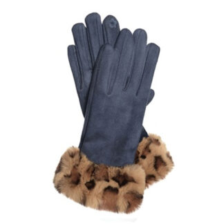Hot Tomato Navy Faux Suede Gloves