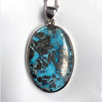 Persian Turquoise Pendant set in Sterling Silver