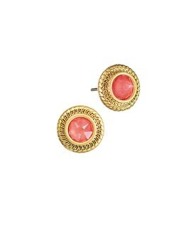 Hot Tomato Earrings KL015 Vintage Gold Metal Finish - Gold and Coral
