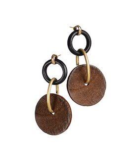 Hot Tomato Earrings LF384 Hoops & Wheels - Wood with Gold