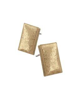 Hot Tomato Earrings LF391 Rectangluar Studs - Worn Gold