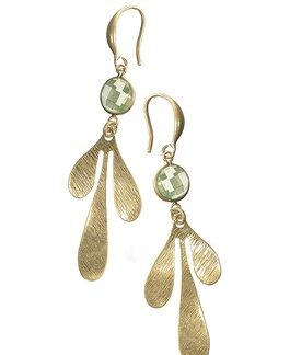Hot Tomato Earrings LF392 Leaf Drop with Crystal - Worn Gold and Mint