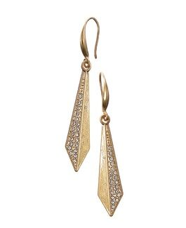 Hot Tomato Earrings LF428 Crystal Studded Flight Drops - Worn Gold/Clear