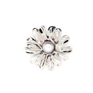 Hagit Design Daisy Flower White Pearl Pendant