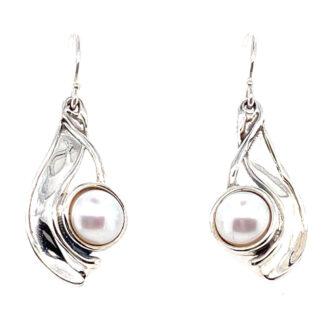 Hagit Designs Wave White Pearl Drop Earrings