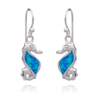 Blue Opalique Seahorse Drop Earrings