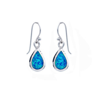 Blue Opalique Teardrop Earrings