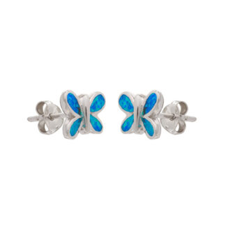 Blue Opalique Butterfly Stud Earrings