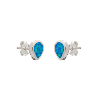 Blue Opalique Teardrop Stud