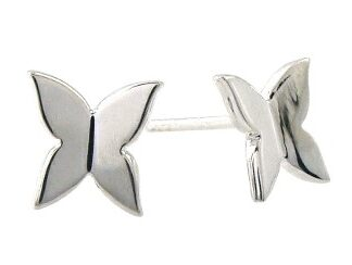 Plain Silver Butterfly Stud Earrings